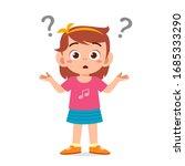 cute little kid girl confused... | Shutterstock .eps vector #1685333290