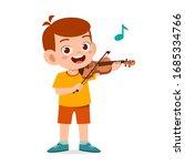 Happy Cute Little Kid Boy Play...