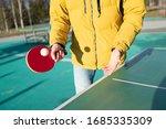 Guy plays table tennis pingpong ...