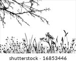 grass & tree / vector silhouette / details are separated - stock vector