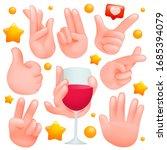 human hands sign set. various... | Shutterstock .eps vector #1685394079