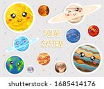 solar system with cute cartoon... | Shutterstock .eps vector #1685414176