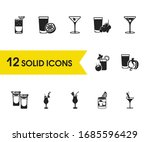 cocktails icons set with grape...