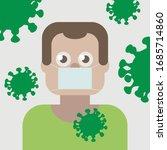scared by coronavirus guy in... | Shutterstock .eps vector #1685714860