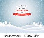 christmas landscape. vector... | Shutterstock .eps vector #168576344