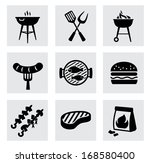 vector black barbecue icons set ... | Shutterstock .eps vector #168580400
