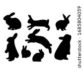 silhouette of a black rabbit... | Shutterstock .eps vector #1685804059