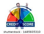businessman in credit score... | Shutterstock . vector #1685835310