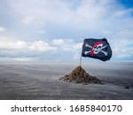 Pirate Flag On A Windswept Beach