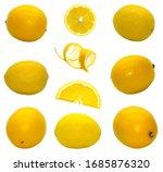 isolated set of lemon on white...   Shutterstock . vector #1685876320