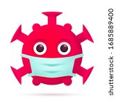red virus emoticon with medical ... | Shutterstock .eps vector #1685889400