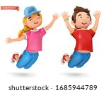 funny kids  girl and boy. 3d... | Shutterstock .eps vector #1685944789