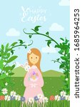 happy easter theme. cute girl... | Shutterstock .eps vector #1685964253