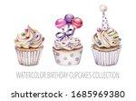Hand Drawn Watercolor Cupcakes...