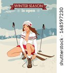 Pin Up Young Girl With Skis...