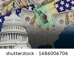 Small photo of U.S. Capitol in Washington D.C. with Global pandemic Coronavirus Covid 19 lockdown, financial a stimulus bill individual checks from government US dollar bills currency on American flag
