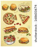 hand drawing  set of sandwiches,pizza and salad