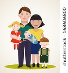 happy family parents with three ... | Shutterstock . vector #168606800