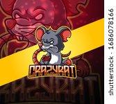 crazy rat esport mascot logo...