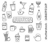 drinks doodles element vector... | Shutterstock .eps vector #1686093169