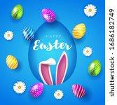 vector happy easter party flyer ... | Shutterstock .eps vector #1686182749