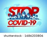 stop covid 19 motivational... | Shutterstock .eps vector #1686203806