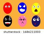 eggs funny faces  vector... | Shutterstock .eps vector #1686211003