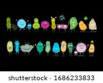 funny and scary bacteria... | Shutterstock .eps vector #1686233833