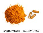 Pile Of Curcumin Powder And...