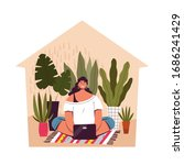 a young woman sits at home and... | Shutterstock .eps vector #1686241429