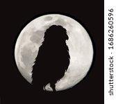 vector silhouette of owl on... | Shutterstock .eps vector #1686260596