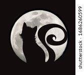 vector silhouette of cat on... | Shutterstock .eps vector #1686260599