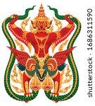 garuda catching naga. thai art... | Shutterstock .eps vector #1686311590
