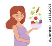 pregnant woman eats healthy... | Shutterstock .eps vector #1686316003