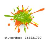 Indian festival Happy Holi celebration concept with colorful splash and text Holi Hai.