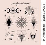 vector witch and magic... | Shutterstock .eps vector #1686369316