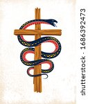 Serpent On A Cross Vintage...