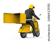man courier riding yellow... | Shutterstock . vector #1686412930