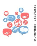 online dating icons isolated on ... | Shutterstock . vector #168643658
