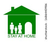 stay at home text under house...   Shutterstock .eps vector #1686440986