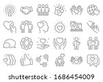 friendship and love line icons. ... | Shutterstock . vector #1686454009