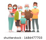 family in protective medical...   Shutterstock .eps vector #1686477703