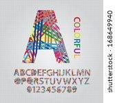 colorful overlap line alphabet... | Shutterstock .eps vector #168649940