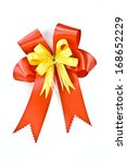 red satin gift bow  isolated on ... | Shutterstock . vector #168652229