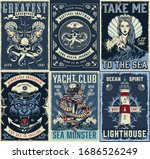 Vintage Marine Posters Set With ...