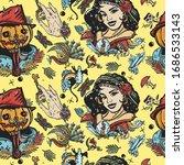 halloween seamless pattern. old ... | Shutterstock .eps vector #1686533143