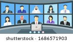 teleconference of global crisis ... | Shutterstock .eps vector #1686571903