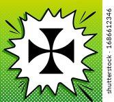 Maltese Cross Sign. Black Icon...