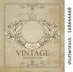 retro floral cartouche.  hand ... | Shutterstock .eps vector #168666668