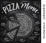 Pizza menu the names of dishes of Pizza, Hawaiian, cheese, chicken, pepperoni and other ingredients tomato, basil, olive, cheese to design a menu stylized drawing with chalk. Vector